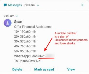 Loan Scam SMS Singapore Money Kinetics